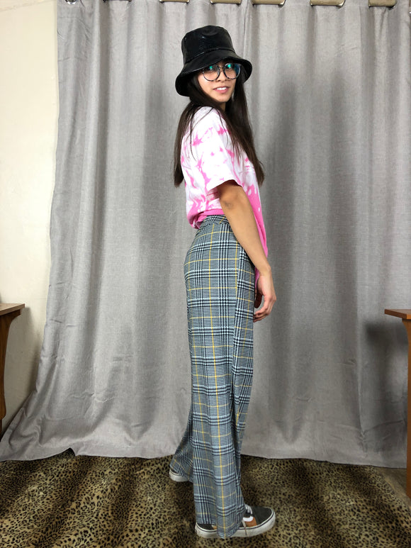 Retro Plaid Gold RIng Flare Pants
