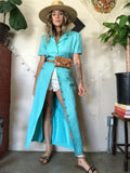 Turquoise Linen Button Jacket Dress