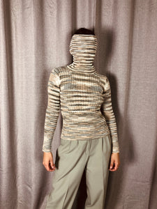 90s Ribbed Striped Turtleneck Sweater