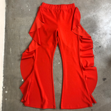 Red Hot Ruffle Side Flare Pants