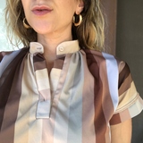 Neutral Striped Retro 70s Vintage Short Sleeve Top