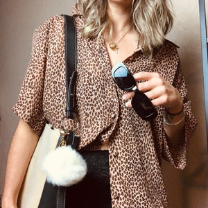 Vintage Leopard Print Loose Chiffon Button Top
