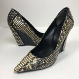 Rachel Roy Rrabby Snakeskin Studded Black Wedges
