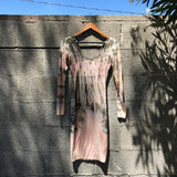 Tie Dye Pastel V Neck Body Con Stretchy Dress