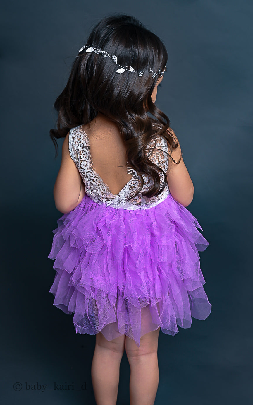 Tabitha Dresses - Lace Open Back Multilayered Tutu Dresses - Sizes (2T-8) - Different Color Variations & Lengths (SHIPS WITHIN USA IN 2 WEEKS )