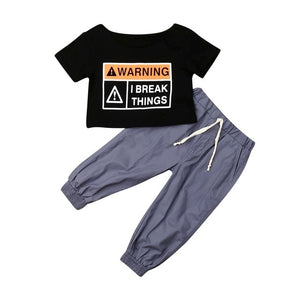 Warning I Break Things 2-Piece Set - Sizes (12M-5T)