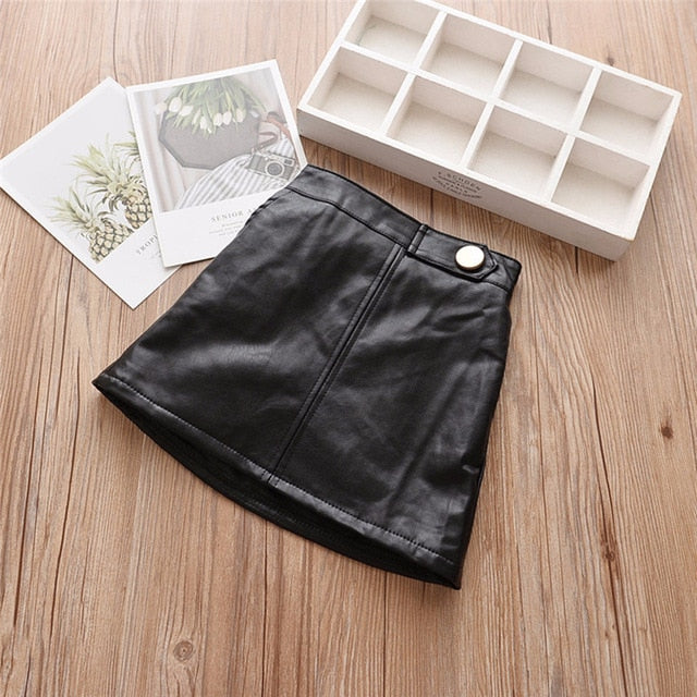Madonna Faux Leather Skirt - Sizes (2T-7)
