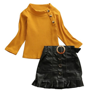 Mustard and Leather Set - Sizes 12M - 5T