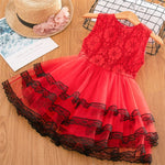 Mya Tulle Layered Dress - Sizes (3T-8) (White & Red)