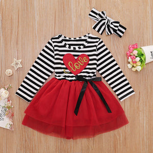 Striped Love Tutu Dress & Headband - Sizes (12M - 4T)