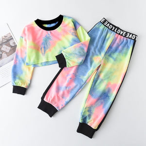 Cropped Tie dye Tracksuit Set - Sizes (2T-6)