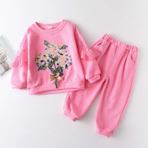 Pink Flower Tracksuit Set -Sizes (2-6)