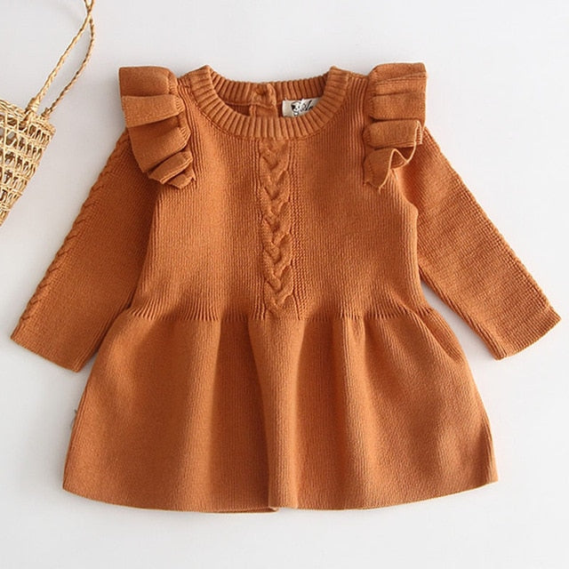 Knit Ruffled Sweater Dress - Brown - Sizes (3M-4T)