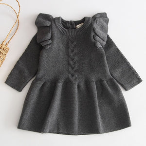 Knit Ruffled Sweater Dress - Gray - Sizes (3M-4T)