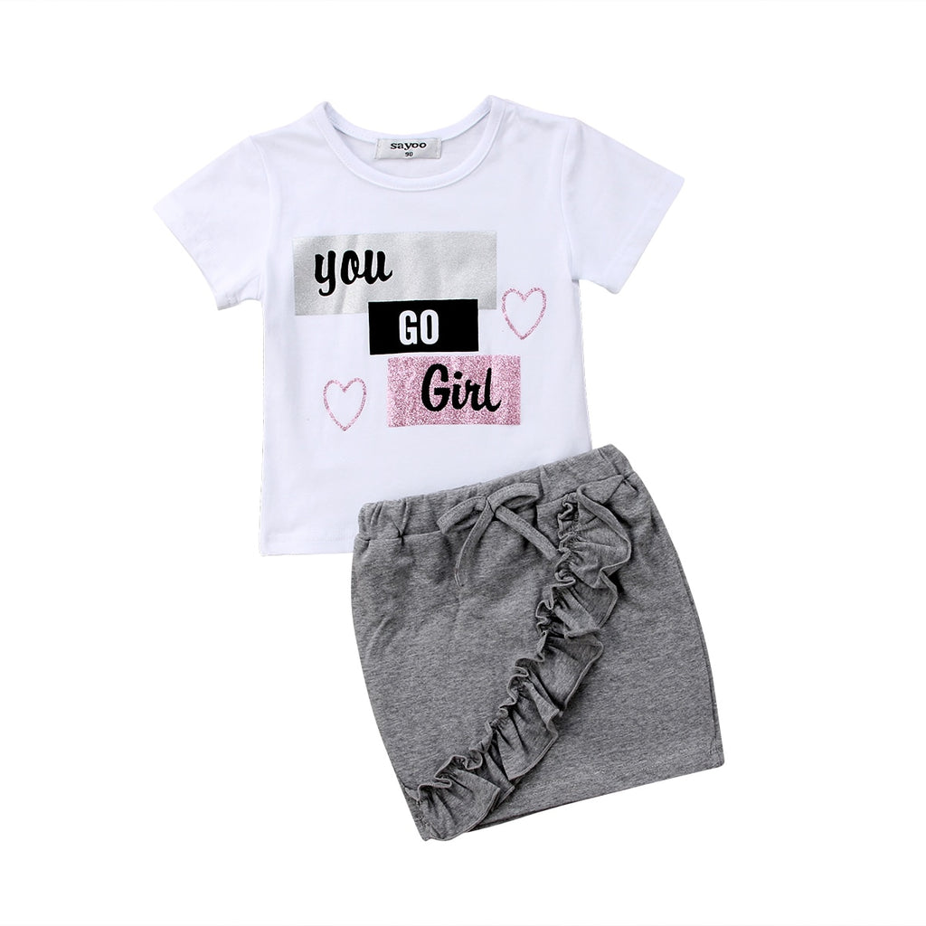 You Go Girl T-Shirt & Mini Skirt Set - Sizes (18M-5)