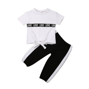 Love Ties Black and White 2-Piece Set - Sizes (12M-4T)
