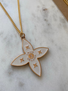 Louis Vuitton Large Flower White and Gold Charm Necklace
