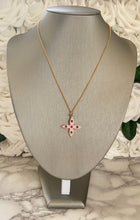 Load image into Gallery viewer, Louis Vuitton Double Sided Pink and Green Flower Charm Necklace