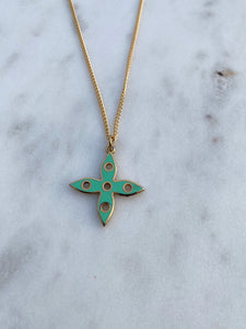 Louis Vuitton Double Sided Pink and Green Flower Charm Necklace