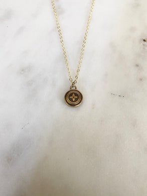 Louis Vuitton Light Brown and Gold Blossom Circle Charm Necklace
