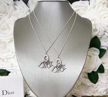 Load image into Gallery viewer, Dior Silver Spell Out Diamanté Charm Necklace