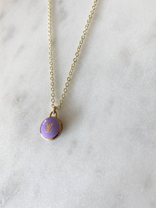 Louis Vuitton Purple and Gold Initial Mini Charm Necklace