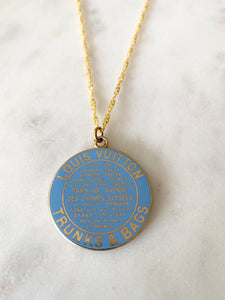 Louis Vuitton Light Blue and Gold Large Disk Charm Necklace