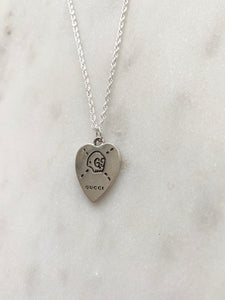 Gucci Silver Large Skull Heart Charm Necklace
