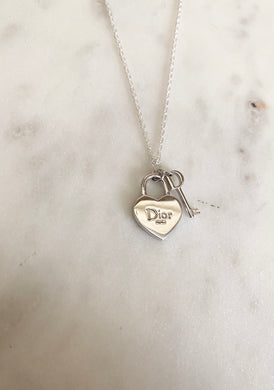 Dior Silver Mini Padlock and Key Charm Necklace