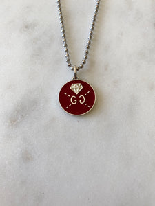 Gucci Double Sided Red and Silver Disk Charm Necklace
