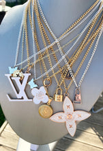 Load image into Gallery viewer, Louis Vuitton Large Flower White and Gold Charm Necklace