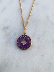 Louis Vuitton Double Sided Purple and Green Charm Necklace