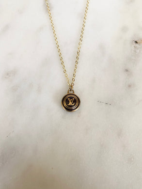 Louis Vuitton Burgundy Brown and Gold LV Circle Charm Necklace