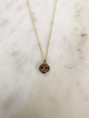 Louis Vuitton Light Brown and Gold LV Circle Charm Necklace