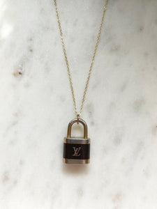 Louis Vuitton Gold And Black Padlock Charm Necklace