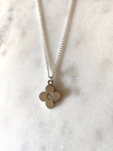 Louis Vuitton Silver Flower Charm Necklace