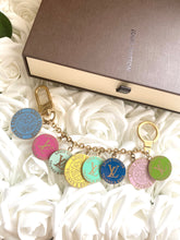 Load image into Gallery viewer, Louis Vuitton Light Blue and Gold Large Disk Charm Necklace