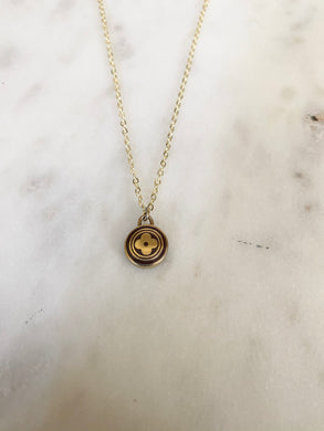 Louis Vuitton Dark Brown and Gold Flower Circle Charm Necklace