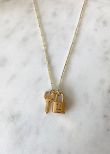 Louis Vuitton Mini Gold Padlock and Key Charm Necklace