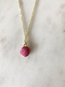 Louis Vuitton Pink and Gold Initial Mini Charm Necklace