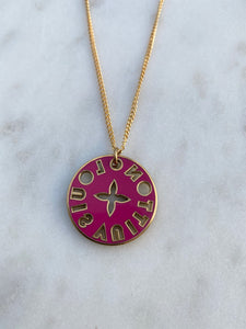 Louis Vuitton Double Sided Pink and Green Charm Necklace