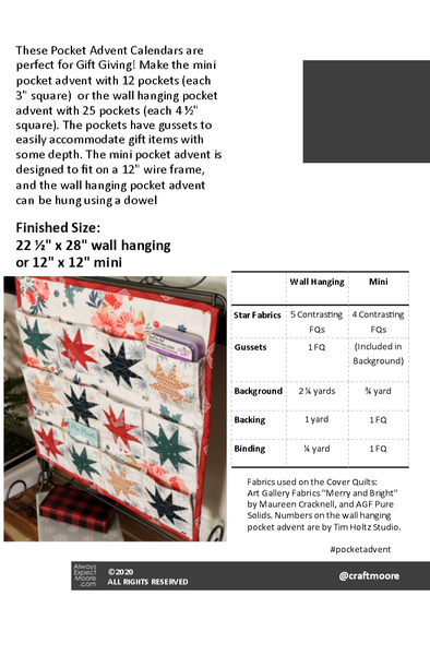 Pocket Advent Calendar Fabric Requirements
