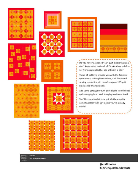 "Quilt Layouts for 12"" Blocks - Digital Book"