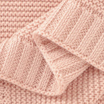 Light Pink Classic Knit 100% Cotton Cellular Blanket Ideal for Prams, cots 100cm x 80cm