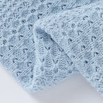 Sky Blue Knitted 100% Cotton Cellular Blanket Ideal for Prams, cots 100cm x 80cm