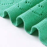Green Hearts 100% Cotton Cellular Blanket Ideal for Prams, cots 100cm x 80cm