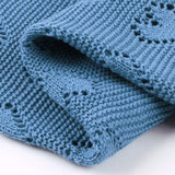 Blue Hearts 100% Cotton Cellular Blanket Ideal for Prams, cots 100cm x 80cm