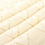 Off White Hearts 100% Cotton Cellular Blanket Ideal for Prams, cots 100cm x 80cm