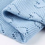 Sky Blue Hearts 100% Cotton Cellular Blanket Ideal for Prams, cots 100cm x 80cm