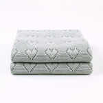 Grey Hearts 100% Cotton Cellular Blanket Ideal for Prams, cots 100cm x 80cm